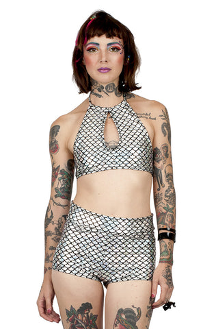 Silver Mermaid Halter Top