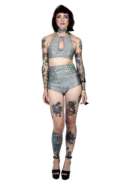 Silver Mermaid High Waist Swim Bottom