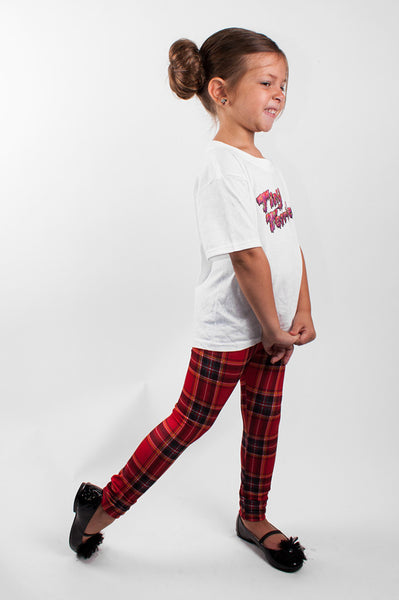 Red Plaid Kids Leggings