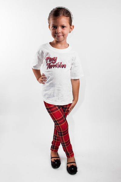 Red Plaid Kids Leggings (size 8)