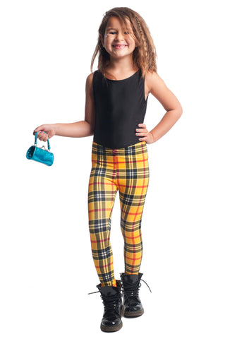 Yellow Plaid Kids Leggings