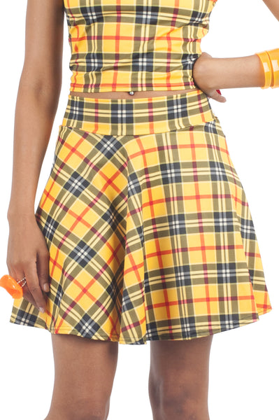 Yellow Plaid Skater Skirt