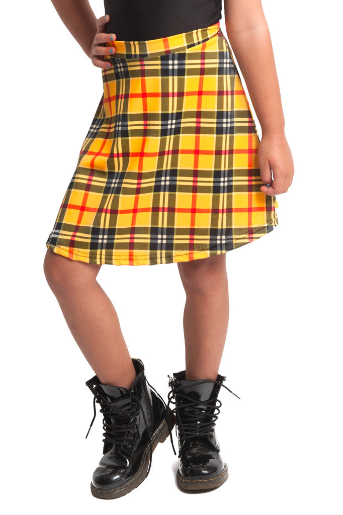 Yellow Plaid Kids Skater Skirt (Medium)