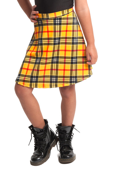 Yellow Plaid Kids Skater Skirt