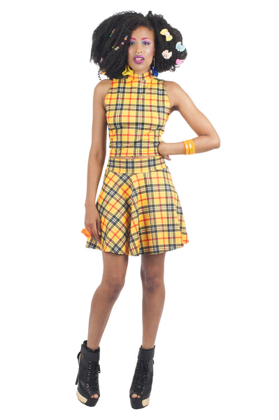 Yellow Plaid Turtleneck Crop Top