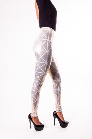 Gold & White Disco Leggings