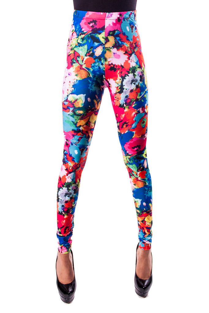 Blue Floral Leggings (Small)