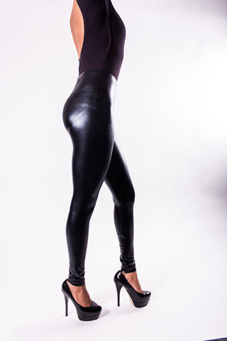 Black Leather-Look Leggings