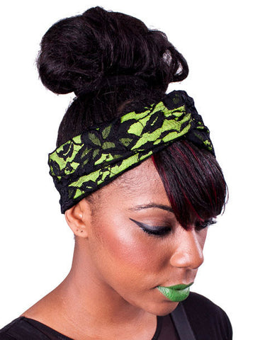 Neon Yellow & Lace Turban Headband