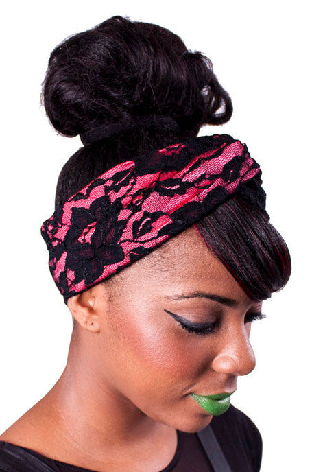 Coral & Lace Turban Headband