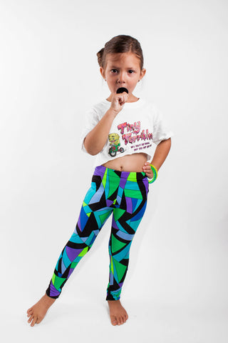 Blue Kaleidoscope Kids Leggings