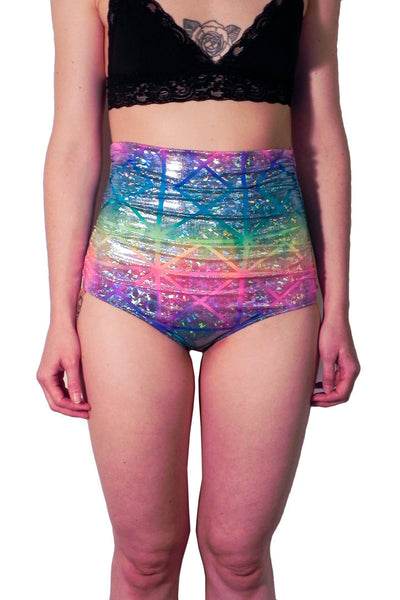 Rainbow Sherbet Disco High Waist Swim Bottom