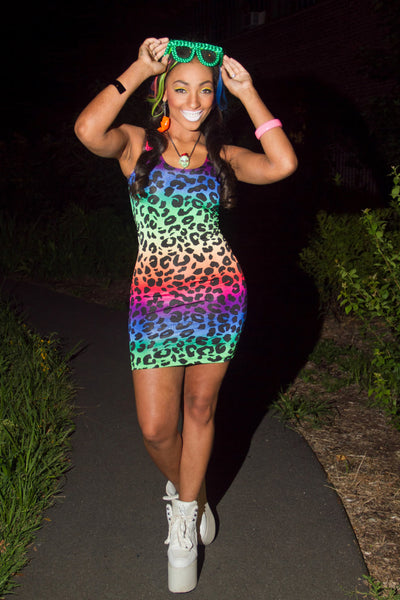 Rainbow Leopard Tank Dress (Small)