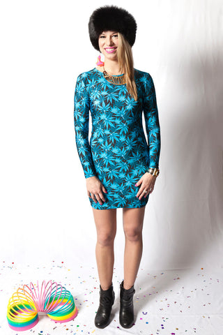 Blue Dream Bud Long Sleeve Dress
