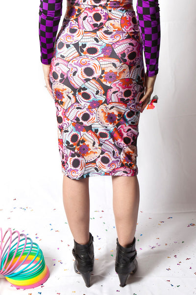 Pink Skulls Pencil Skirt (Small & Large)