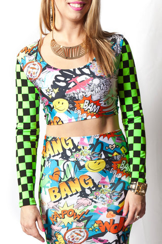 Bam! Pop! Long Sleeve Crop Top