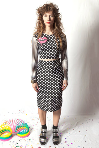 Black & White Polka Dot Pencil Skirt
