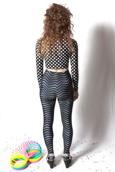 Polka Dot Long Sleeve Crop Top (Small)