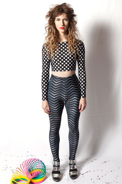 Polka Dot Long Sleeve Crop Top