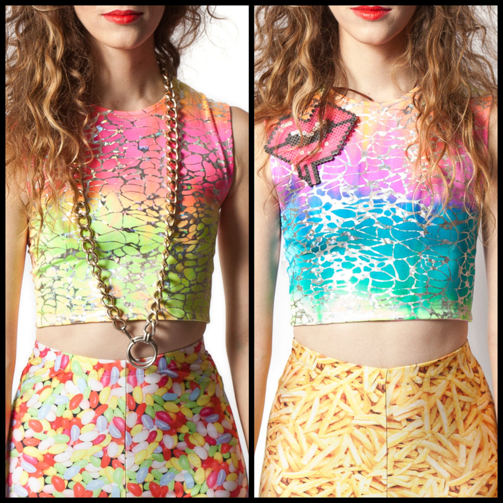 Tequila Sunrise & Rainbow Sherbet Reversible Crop Top