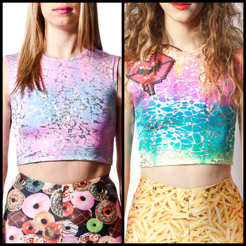 Cotton Candy & Rainbow Sherbet Reversible Crop Top