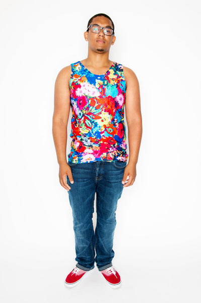 Blue Floral Mens Tank Top