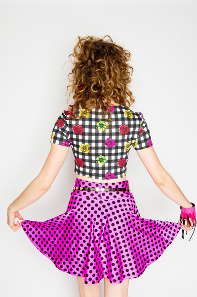 Pink & Black Polka Dot Skater Skirt
