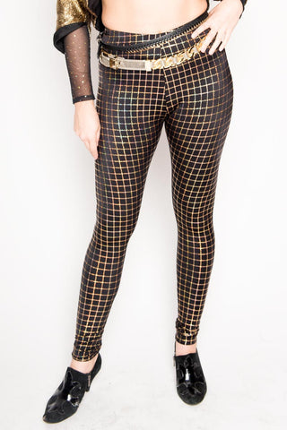 Black & Gold Grid Leggings