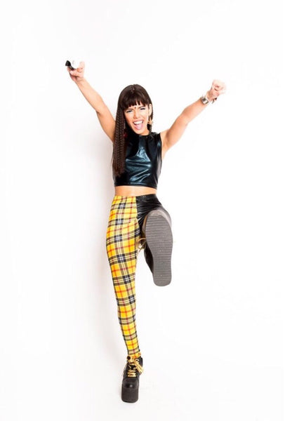 Yellow Plaid Two Face Leggings