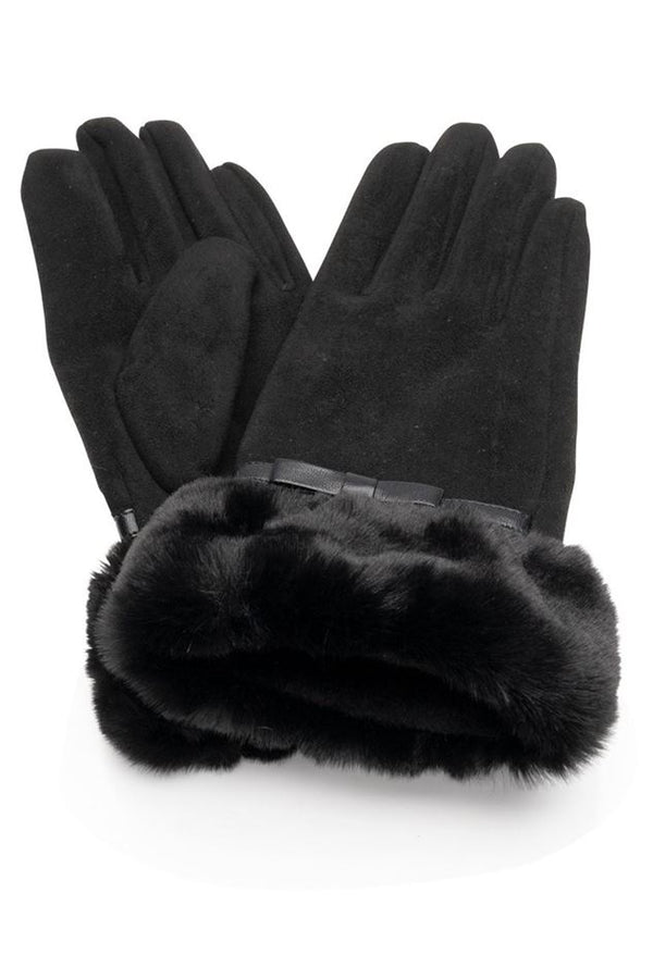 Suedette gloves faux fur cuff - Black
