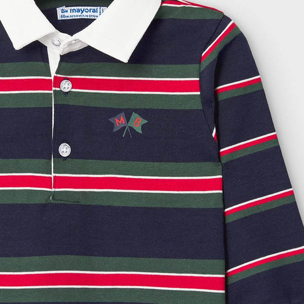 Long Sleeved Striped Polo Shirt - Baby