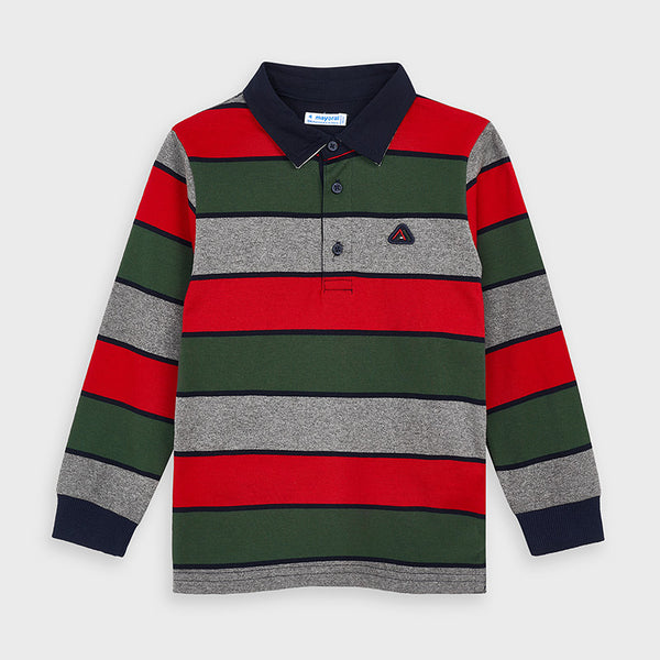 Long Sleeve Striped Polo