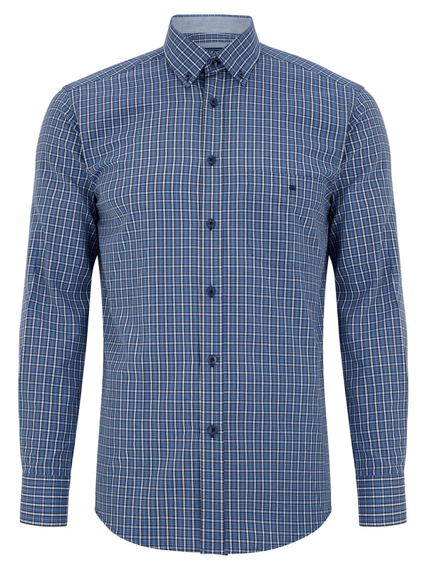 Geneva/Ivano - Cotton Polyester Blue Shirt