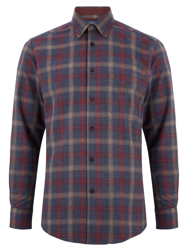 Geneva/Ivano - Cotton Polyester Burgundy Shirt