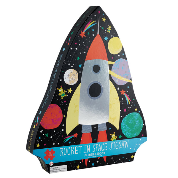 ROCKET IN SPACE JIGSAW 80 PIECE WITH SHINY FOIL