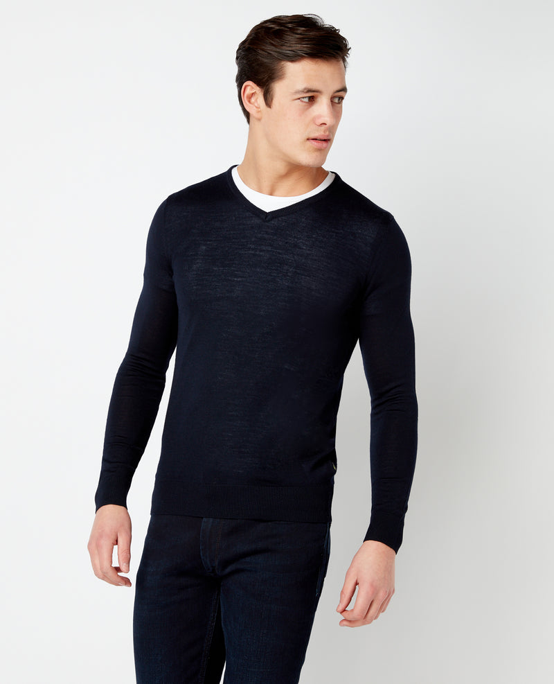 LS Vee Nk Sweater Navy