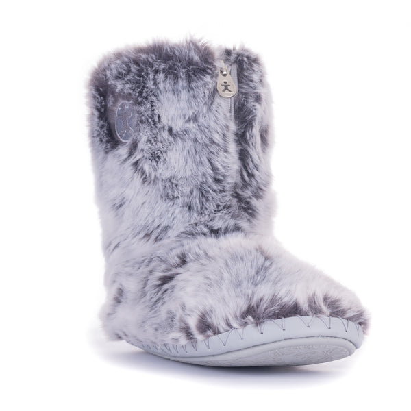 Cole Short Luxury Faux Fur Boots - Grey Husky