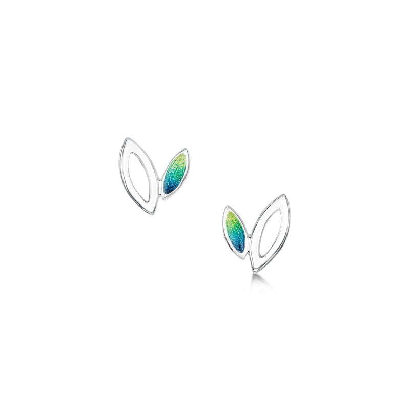 Seasons Silver Petite Stud Earrings in Spring Enamel