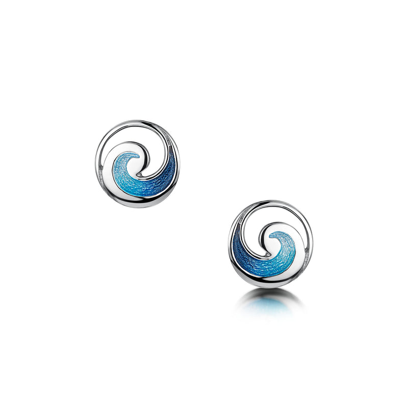 Pentland Enamelled Small Stud Earrings in Sterling Silver