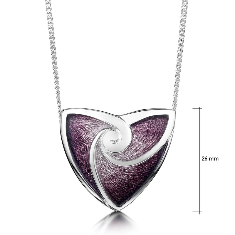 Turning Tides Pendant Necklace in Amethyst Enamel