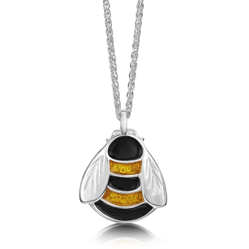 Bumblebee Enamel Dress Pendant in Sterling Silver