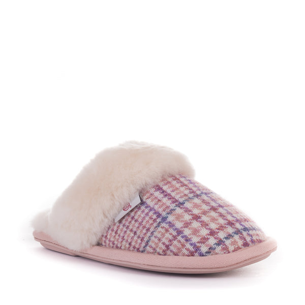 Kate - Harris Tweed Mule - Pink POW Check