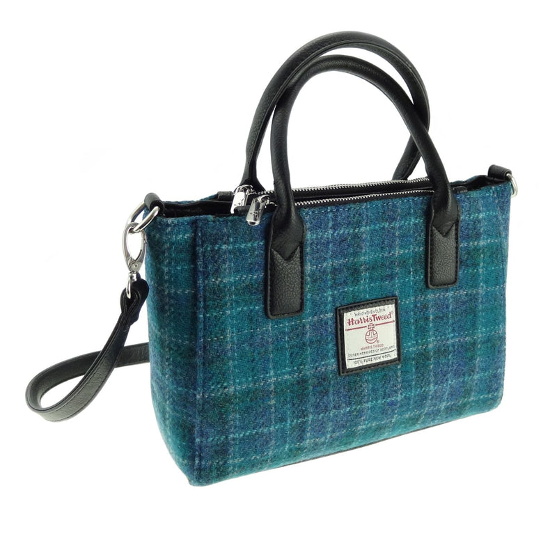 HARRIS TWEED 'BRORA' SMALL TOTE IN SEA BLUE CHECK