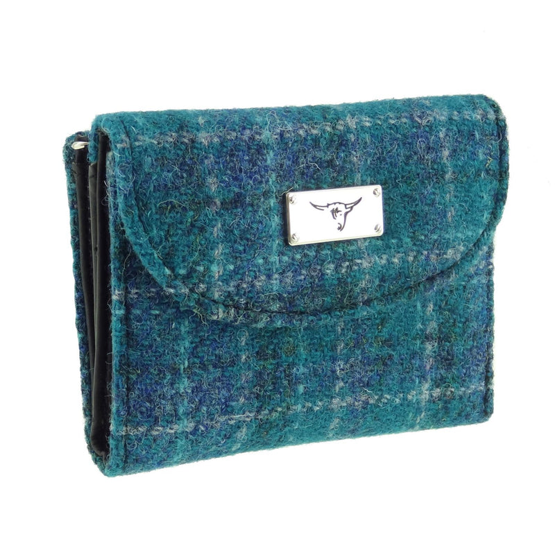 HARRIS TWEED 'JURA' SHORT WALLET IN SEA BLUE CHECK