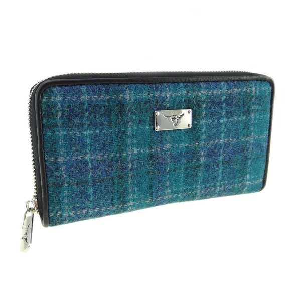HARRIS TWEED 'STAFFA' LONG ZIP PURSE IN SEA BLUE CHECK