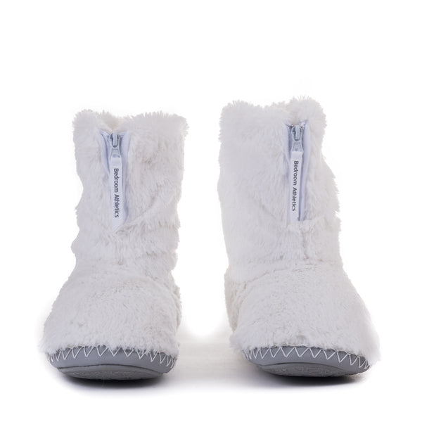 Faux Fur Slipper Boots - White/Trace Grey