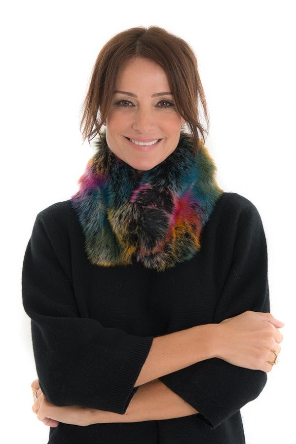 Ventura Multi-Coloured Reds Faux Fur Collar