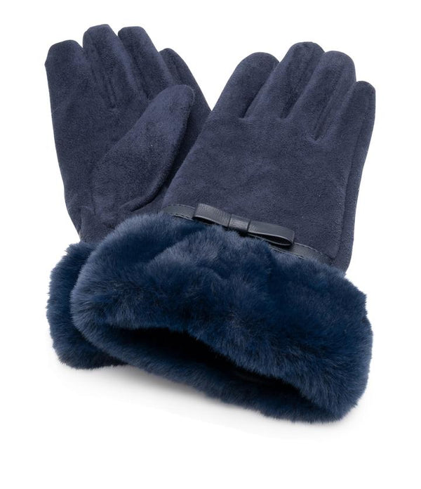 Suedette gloves faux fur cuff - Navy