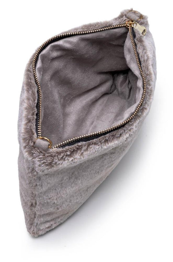 Faux Fur Bag - Grey