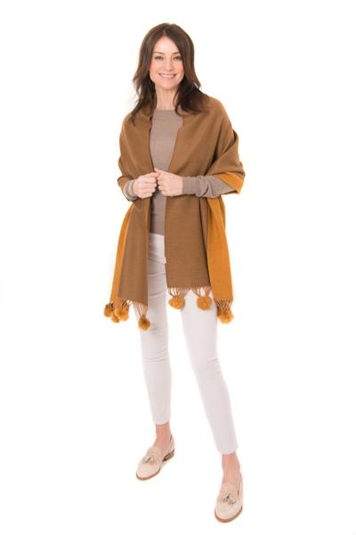 Two-Tone Wrap in Tan and Brown